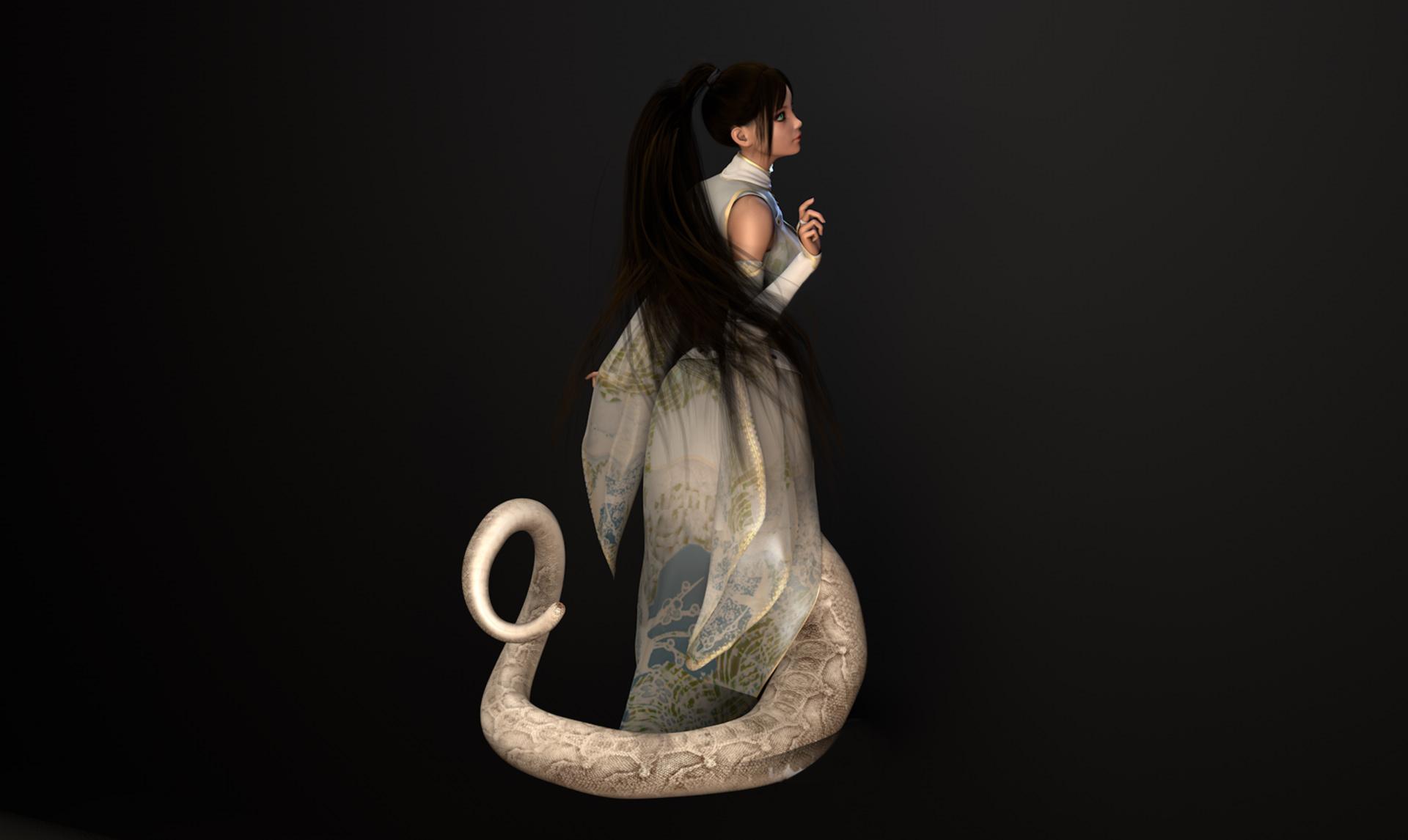 Ms. White Snake, Snake Girl, Lamia @ Mathias Nell